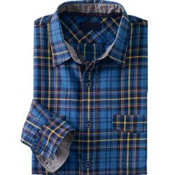 折り返しは懐に入れる純粋な綿のあや織りの人の格子縞のシャツ(WXM266)を