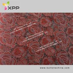 China-Stickerei-Baumwollwasserlösliches Spitze-Gewebe-Ente-Rot