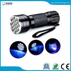 3AAA 알루미늄 보이지 않는 Blacklight 탐지 21 LED 매우 보라빛 소형 휴대용 토치 빛