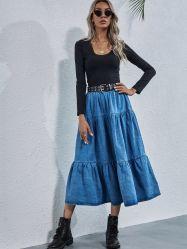 الأزياء العالية الخصر فضفاضة خط القميص الكبير طويل اللباس خط تنورة جندم من الكمأة الزرقاء غير الرسمية للفتيات 0049