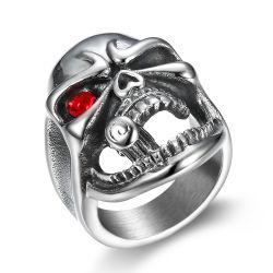 Nueva llegada de los hombres de acero inoxidable tubo cráneo anillo anillo de titanio Vintage muchacho amigo regalos