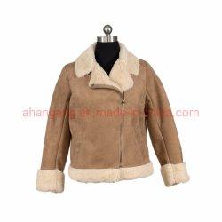 Señoras estilo corto de cuero con chaqueta de piel