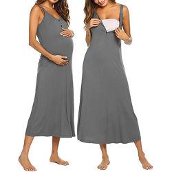 As mulheres grávidas Amamentação sólido de Enfermagem da Maternidade Verão vestido túnica sem mangas