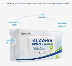 アルコール使い捨て可能な手のワイプの殺菌および殺菌の携帯用クリーニング75%アルコールNonwovenファブリックのぬれたタオルの赤ん坊の製品60PCSはワイプをぬらした