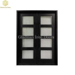 Роскошный дизайн квадратных верхней части черного фиксированных пользовательских двойные стекла передней двери из кованого железа