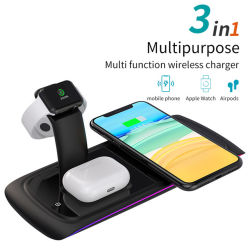 3 in 1 drahtloser Multifunktionsaufladeeinheit für Apple-Uhr/Airpods/Handy