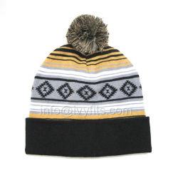نمو [مولتي-كلور] [بروتموأيشنل] قطر يحبك شتاء قبعة مع شريط أسلوب و [بومبوم]