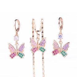 Gioielli di moda Costume a forma di farfalla Set di gioielli per matrimoni con CZ Pietra