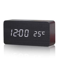 Kh-Wc003 Comando de voz personalizado display LED de temperatura de hora e data a mesa de madeira relógio digital com alarme de três grupos