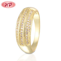 Señoras la moda de joyería anillos de oro de 18K Anillo de Bodas de Diamante de novia