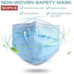Maschera di protezione a gettare di sicurezza 3-Ply 50 pacchetti 3 strati del prodotto non intessuto saltato fusione