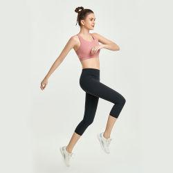 2 pedaço mulheres Verão conjunto de exercícios, Super Soft Pink Mesh Sports Sutiã de ioga e leve Capris Calças de ioga define o ginásio, ténis de mesa roupas Conjunto Fitness