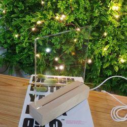Venta caliente Australia acrílico blanco estilo 5mm OEM de lámina de acrílico placa con la base de lámpara de madera bricolaje Luz de noche