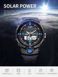 La energía solar Digit-Analogue plástico reloj con Water-Resistant