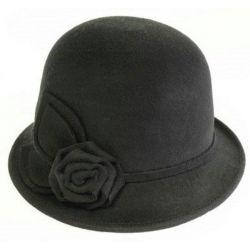 最も新しい方法はフェルトの大きい花のClocheのソフト帽の帽子に懇願する