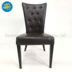Venda por grosso de fábrica para grãos de madeira em couro PU imitado Cadeira de jantar