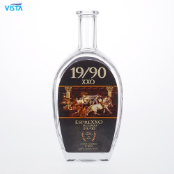 750ml botella espíritu Xxo Flint Alto Frasco de vidrio con tapón de corcho con serigrafía