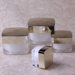 Tarro cosmético plástico cuadrado Silver-Alum envases con tapa para la máscara de crema de cuidado de piel