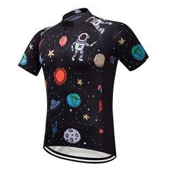 Drôle de fermeture à glissière pleine manches courtes hommes jerseys pour le cyclisme avec poche