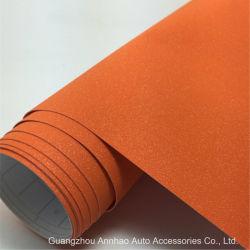 차량 액세서리 1.52 * 28m PVC 자체 접착식 차량 색상 변경 필름 오렌지 글리터 비닐 스티커를 감쌉니다