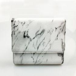Fashion Lady petit carré de couleur en marbre blanc de forme PU Trifold sac à main