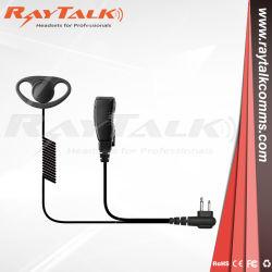 巻き毛のコードが付いているDのシェルのイヤホーンの対面無線の受話口