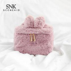 Gute Qualitätsneuester eindeutiger Plüsch-kosmetischer Beutel für Mädchen, kleiner netter rosafarbener Kaninchen-Form-Brautjunfer-Geschenk-Verfassungs-Beutel