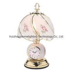 Tm-2639 het brons beëindigt de BloemenSchemerlamp Tuoch van het Glas met Klok