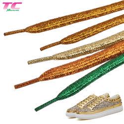 110cm Gold Silver Glitter usine Bootlaces lacets plat Brillant, 16 couleurs chatoyantes lacets de chaussure avec extrémités en plastique