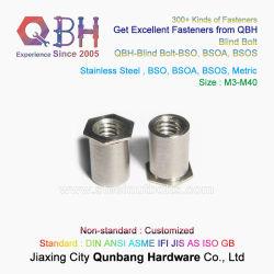 Qbh إدخال ميزة الإمالة الذاتية للمكنسة المجوف من الفولاذ المقاوم للصدأ الثقب الداخلي حز أنثى سالب SS304/316 م3-M10 برشامة سداسية سداسية سداسية محكمة ذات شبة سداسية صامولة
