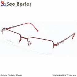 공장 Direct Business Fashion Latest Fashion Pure Double Color를 가진 Rust 없음 Titanium Glasses Eyewear 100%년 Titanium High Quality Half Rim Optical Frame