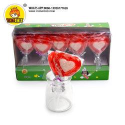 분홍색과 백색 연인 모양 단단한 Lollipop