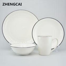 Factory Direct Wholesale Set di vasellame in ceramica bianca di alta qualità per la promozione E personalizzato