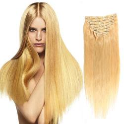 Hot Sale Double trame vierge de gros dans/sur Clip Remy Hair Extension 220 grammes