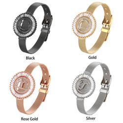 La moda DIY A a Z Cubic Zirconia Carta Micro allanar cambiable personalizado reloj de Pulsera Brazalete alfabeto
