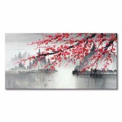 Ciruela pintados a mano flor en flor el arte de pared de lienzo de pintura al óleo en chino tradicional (EFH-B080201)
