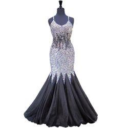 黒いイブニング・ドレスの水晶Corssの背部人魚のプロムの長いフォーマルドレスT93180