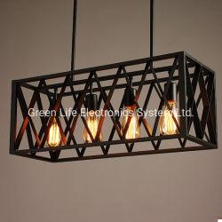 型の中二階4の軽く黒い金属の長方形のケージのランプのかさE27の球根のペンダント灯