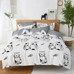 Black Print Cat Design Cartoon ベッドシーツ 4 個キルト カバーセット枕カバー 2 個付き