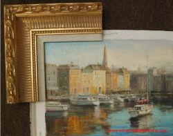 Blocco per grafici dorato Handmade della stagnola con le pitture a olio