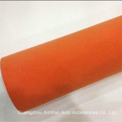 Tecido de veludo laranja Suede Carro Adesivo de vinil de decoração de interiores