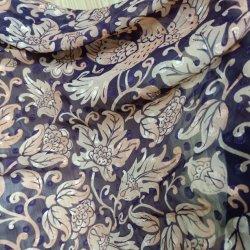 Purpurrotes luxuriöses dünnes weiches Drucken-gesticktes Chiffon- Blumengewebe für Kleid