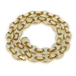 Chapado en oro 18K el Hip Hop Hip hop cubano Collar de Cadena de aleación de Hian cubano Collar de joyas de la cadena de Hip Hop