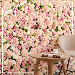 الزهور الجدار الديكور 3D الوردي لوحة الجدار الزهور الحرير الزهور لخلفية الزفاف، دش العروس، غرفة الفتيات الأطفال، حضانة، ديكور الجدار الوردي
