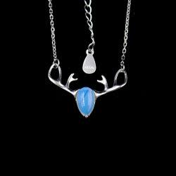 Buckhornは新しいデザイン宝石用原石のMoonstoneの優雅な宝石類のネックレスを形づけた