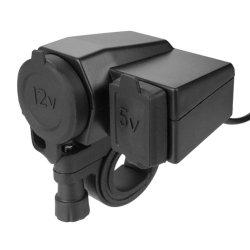 Étanche 5V 2.1A Téléphone USB 12V Barre de poignée de guidon moto Collier Port d'alimentation du chargeur