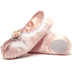 Großhandelsspitze angebrachte Satin-Tanzen-Trainings-Schuhe für Ballett