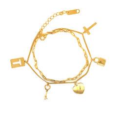 Мода ключ браслет 925 Silver 14K золотых ювелирных изделий подарок