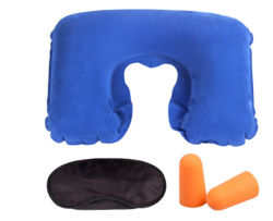 Kit de dormir de avião a máscara do anel de tampão de ouvido de almofadas do bocal de conjunto do Kit de Viagem com bolsa