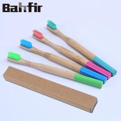 100% биологически разлагаемое взрослых зубную щетку из бамбука природных красочные круглые ручки экологически безвредные бамбук зубные щетки